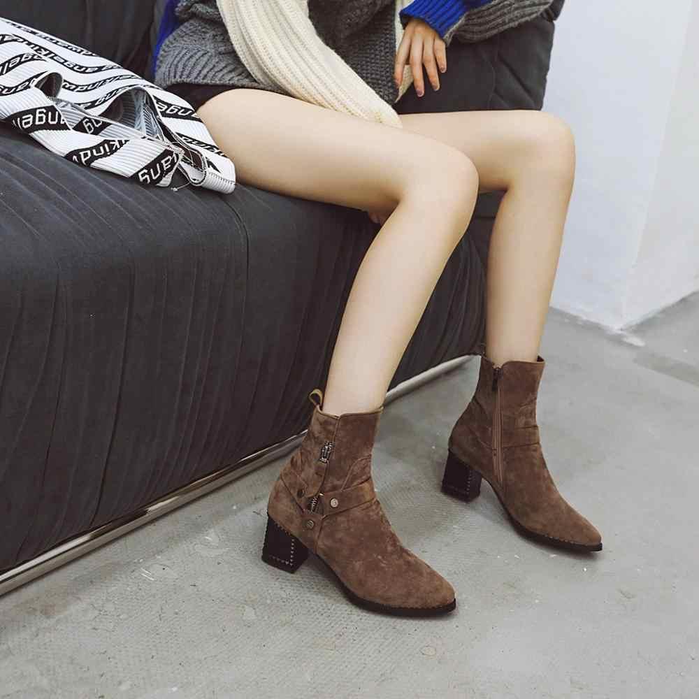 MEMUNIA Artı boyutu 34-43 siyah yarım çizmeler kadın fermuar kalın yüksek topuklu sonbahar kış ayakkabı moda bayan botları