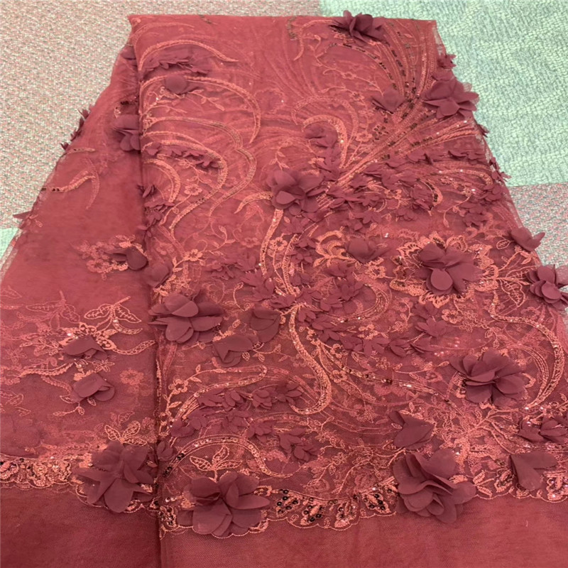 2019 Latest Fashion Nigerian Laces Fabrics High Quality African 3D Flower Laces Fabric Wedding African French Tulle Lace