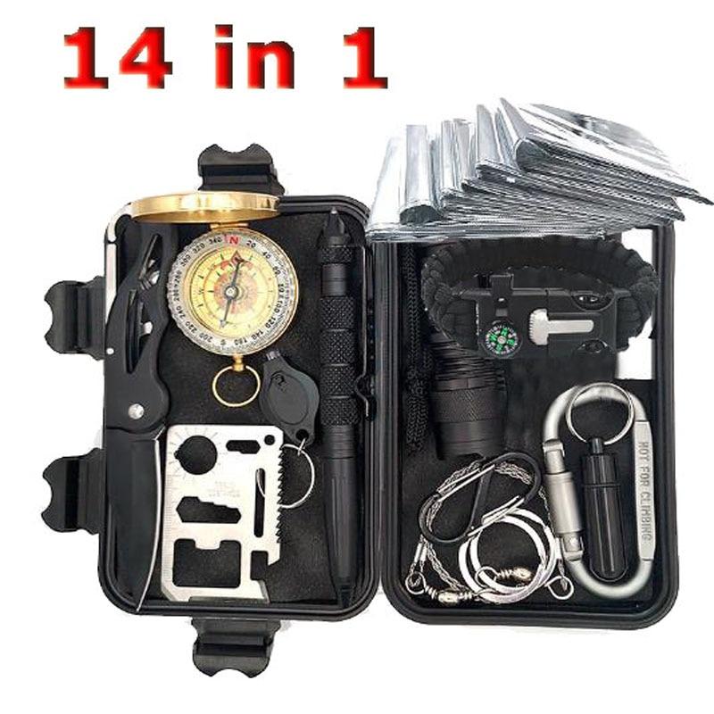 Survival Kit Set Military Outdoor Tavel Camping Tools Aid Kit Multitool EDC Survival Bracelet Whistle Emergency Blanket Knife