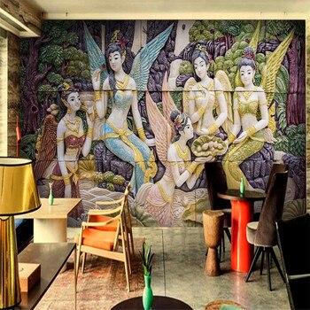 Milofi personalizado 3D papel pintado Mural en relieve diosa Hada Fondo estéreo decoración de pared pintura papel pintado
