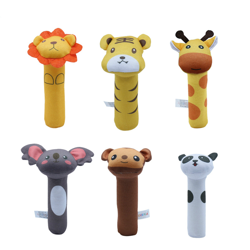 New Cute Baby Toys Different Cartoon Animal BB Stick Hand Bell Rattle Soft Toddler Plush Toys Baby Rattle Mobiles For Baby Gifts