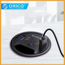 ORICO Để Bàn Grommet USB 3.0 Với Tai Nghe Micro Cổng Loại C HUB OTG Adapter Bộ Chia Phụ Kiện Laptop