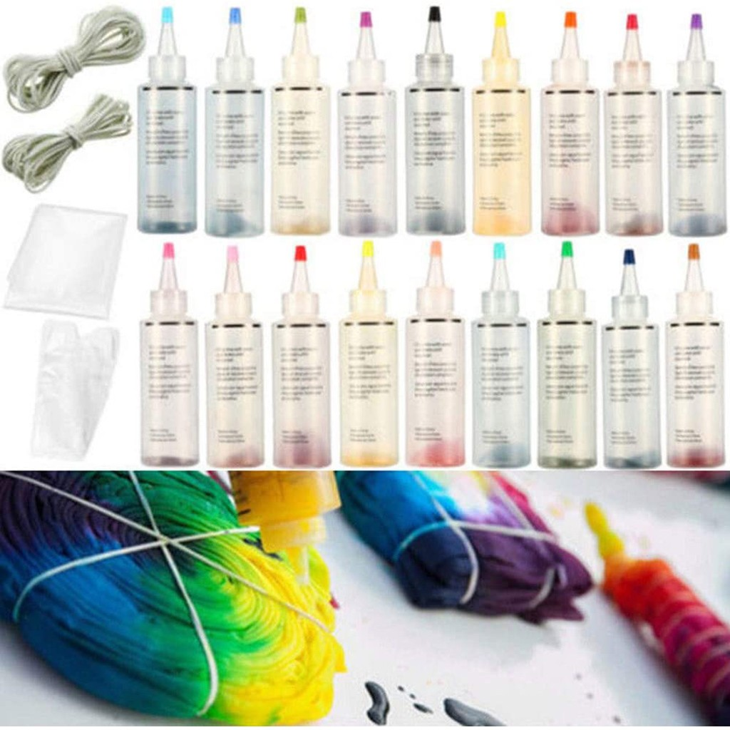 18 Bottles One Step Tie Dye Set DIY Kits for Fabric Textile Craft Arts Clothes for Solo Projects DIY Dyes Painting Tools #LR3 image