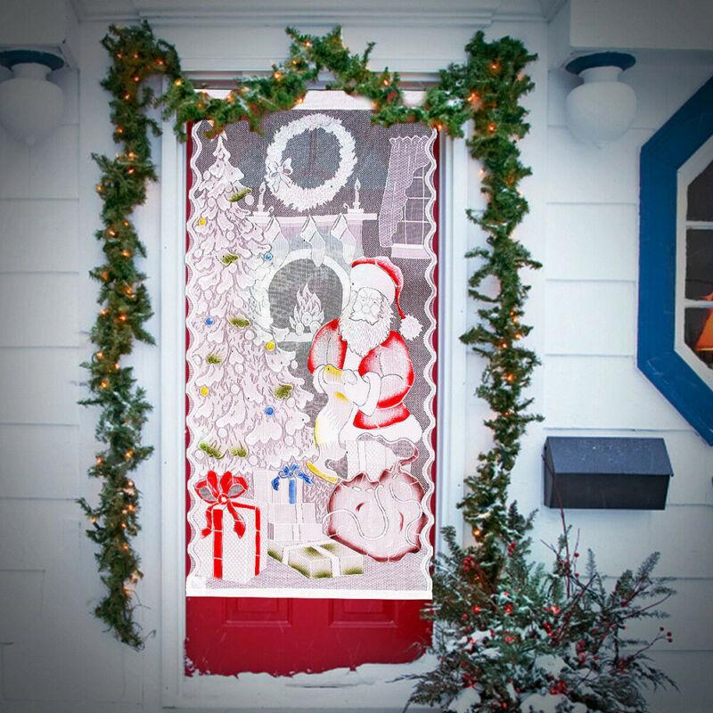 Curtains Curtains Claus Santa Christmas Lace Pattern Claus Curtain Lace Santa