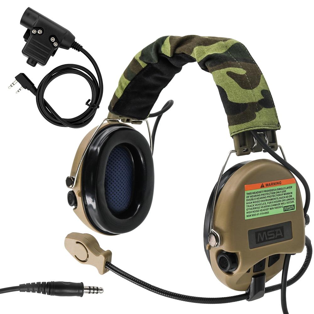 Tactical Sordin Noise Reduction Pickup Headset Hunting Shooting Airsoft Headphone DE + U94 2 Pin PTT