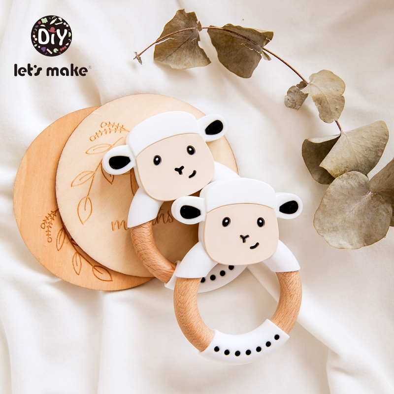 Let's Make 1pc Wooden Teether Food Grade Beech Wood Teething Ring Sheep Shape Bpa Free Silicone Animal 4-6 Months Baby Teethers