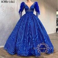 Sparkly Royal Blue Saudi Arabia Evening Dress Long Sleeves Feathers Sashes Dubai Luxury Prom Gowns Abendkleider Customize