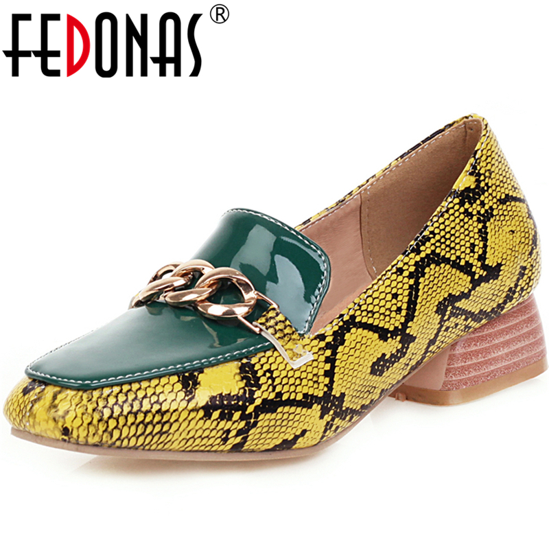 FEDONAS 2020 Spring Summer New Fashion Women Casual Shoes Mixed Colors Snake Pattern Metal Chain Square Toe Slip-On Shoes Woman