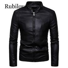 Rubilove Men Leather Jackets Autumn New Mens Korean Style Slim Collar PU Jacket