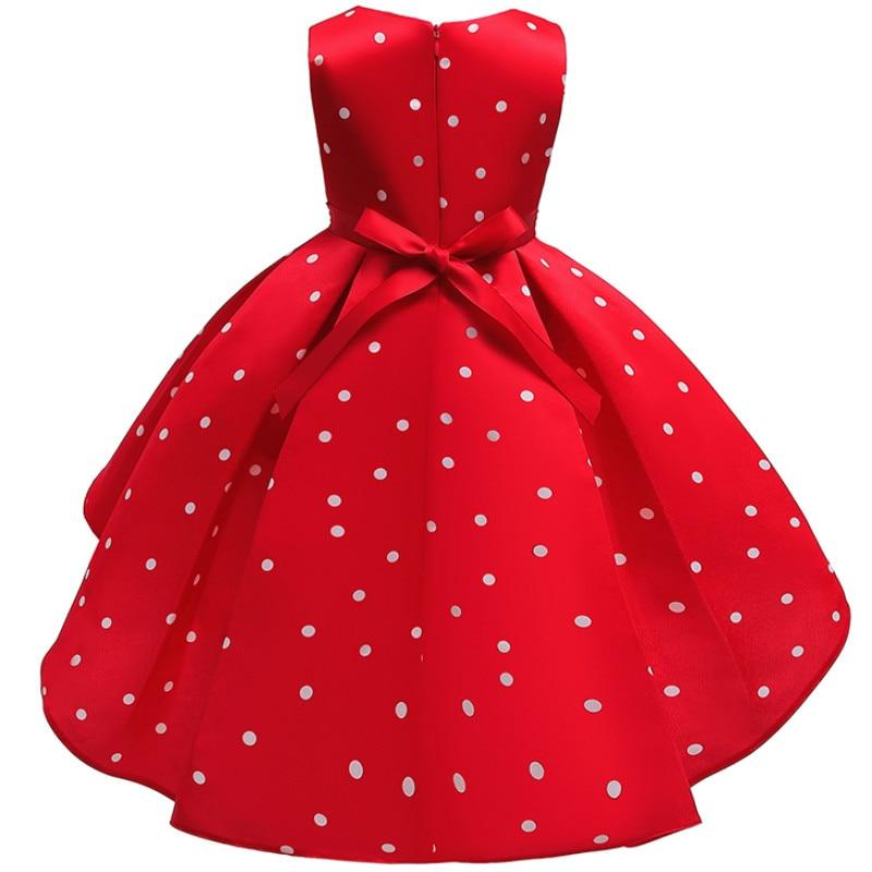Baby Girls Christmas Flower Striped Dress For Girls Wedding Party Dresses Toddler Kids Brithday Dot Dress Children Clothing 3
