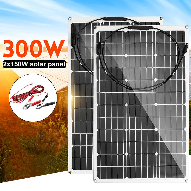 18V Solar Panel 300W/150W Semi-flexible Monocrystalline Solar Cell DIY Cable Waterproof Outdoor Connector Battery Charger
