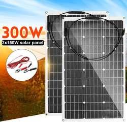 18V Solar Panel 300W/150W Semi-flexible Monokristalline Solarzelle DIY Kabel Wasserdichte Outdoor Stecker batterie Ladegerät