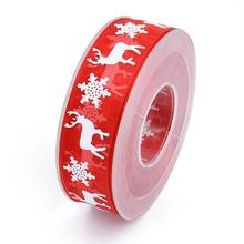 Print Christmas decoration snow gauze birthday gift wrap holiday snowflake deer red ribbon D08D(China)