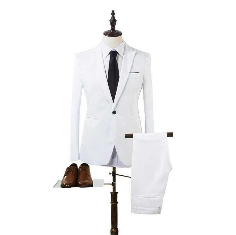 2020 الأعمال السترة السراويل تناسب الرجال الربيع موضة الصلبة سليم طقم حفل الزفاف خمر اللياقة البدنية الكلاسيكية نعمة جديد 2 قطع اللياقة البدنية