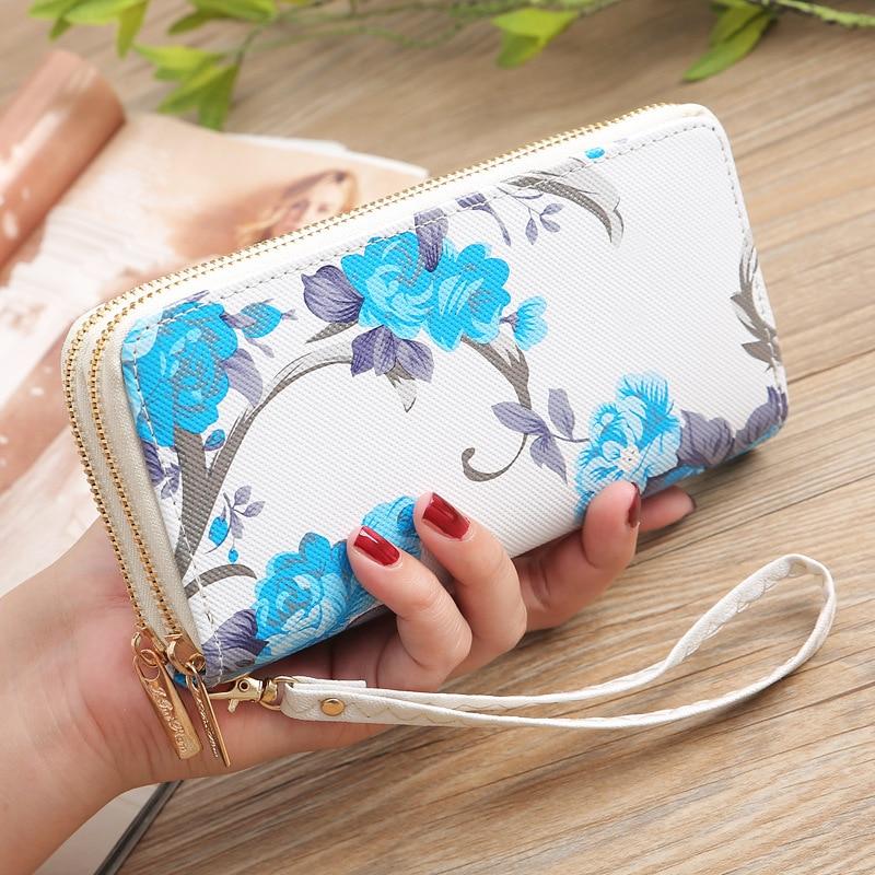 Fashion Floral Ladies Women Leather Wallet Long Zip Purse Card Holder Case Clutch Phone Handbag