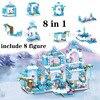 Nuovo Disney Frozen Ice Princess Aisha Castle 8 in 1 assemblato Building Blocks giocattolo per bambini regalo di compleanno