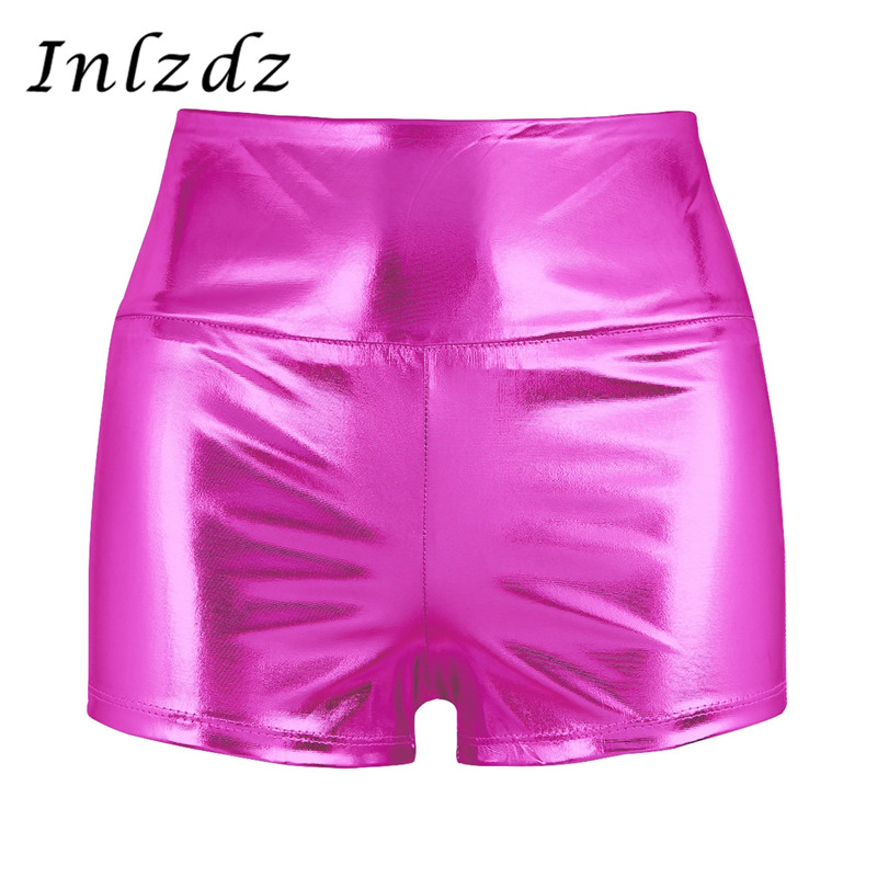 Women's Pole Dance Shorts Rave Clothes Shiny High-waisted Pole Dance Shorts Bottoms For Sports Gymnastic Workout Rave Clothing