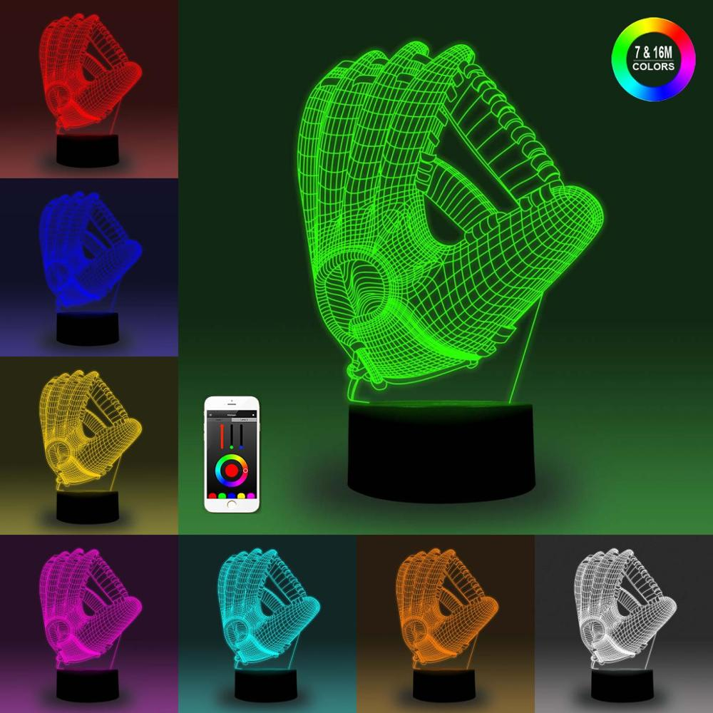 NiteApps 3D Baseball Glove Night Light Desk Table Illusion Decoration Lamp Holiday Birthday Gift APP/Touch Control