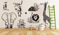Custom Jungle Animal Zoo Baby Nursery Wall Decals Elephant Lion Wall Stickers For Kids Room DIY Vinyl Mural Vinilos Parede