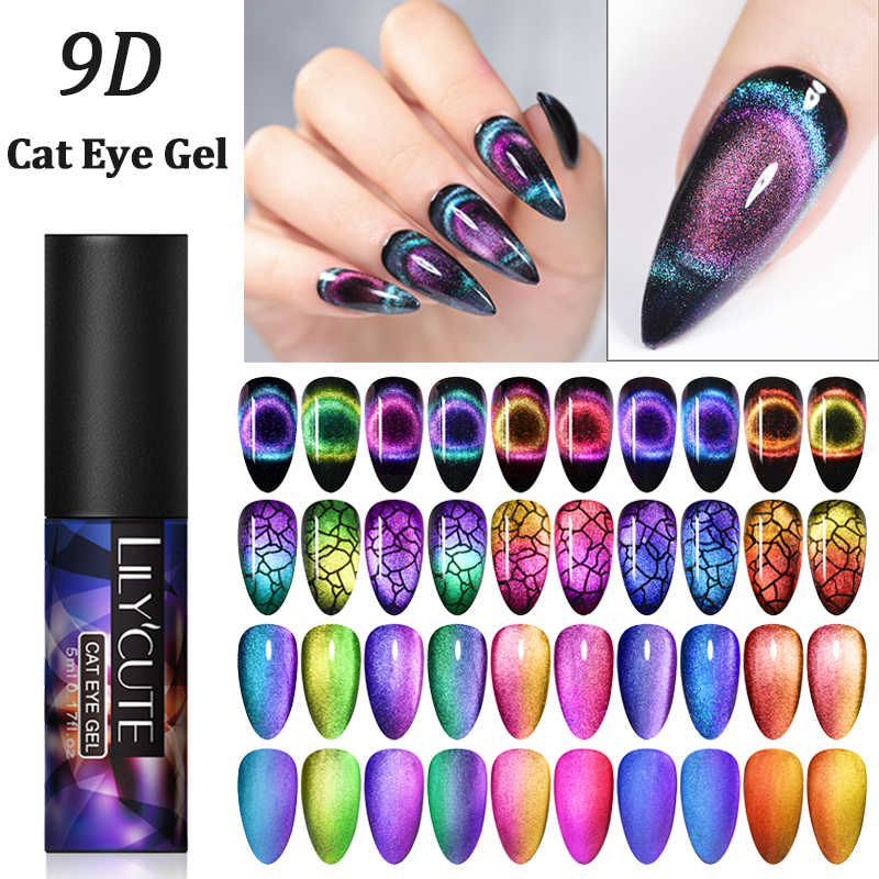 LILYCUTE 9D Cat Eye Chameleon Magnetic Kuku Gel Polandia Aurora Kuku Kucing Mata Tahan Lama Rendam Off UV Gel Nail seni Gel Varnish