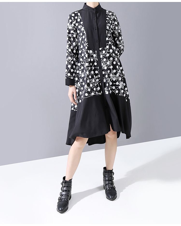 New Fashion Style Black Printed Dots Shirt Dress Fashion Nova Clothing