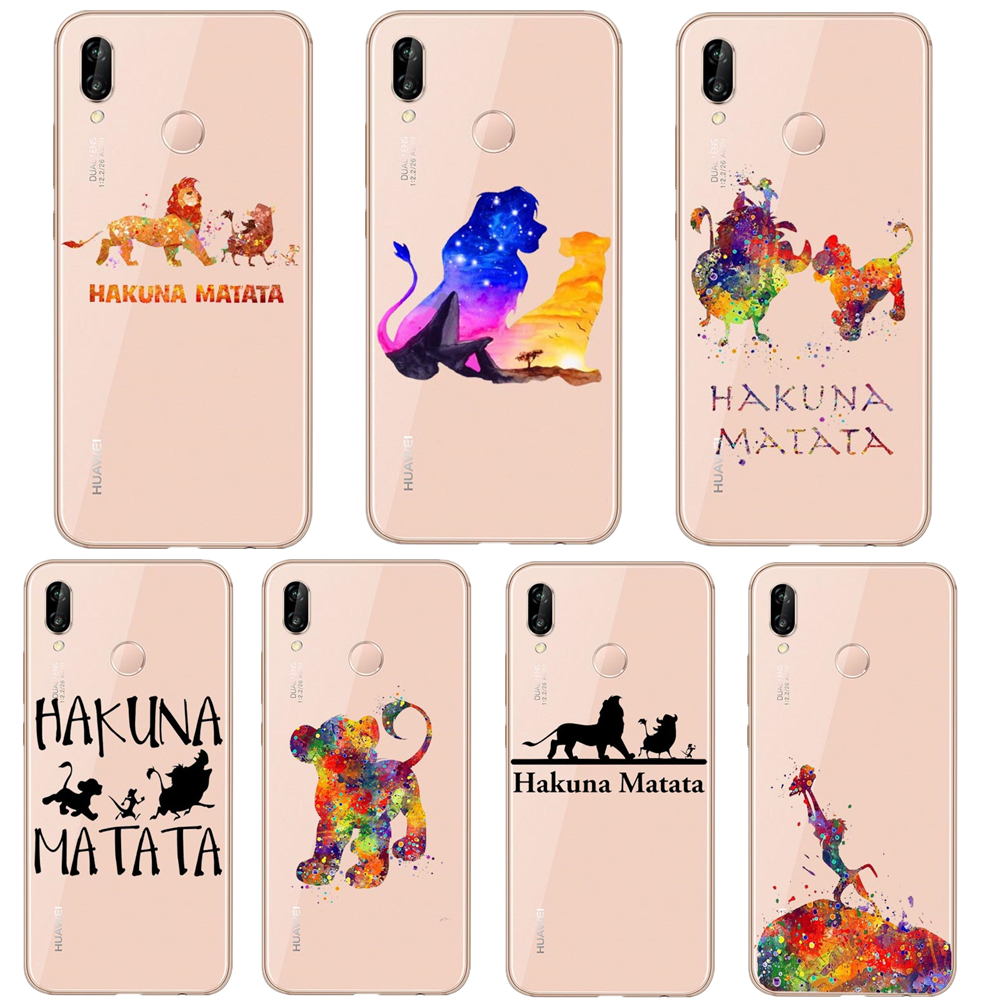 Disneys <font><b>lion</b></font> <font><b>king</b></font> Simba nala Pumba <font><b>Hakuna</b></font> <font><b>Matata</b></font> silicone Cover Phone Cases For Huawei P30 Lite P30 Pro P20 Lite P10 Lite Mate20 image