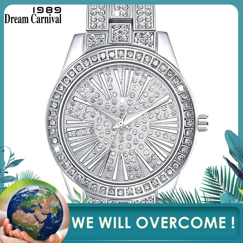 Dreamcarnival 1989 Luxury Baguette Stones Women Watches Christmas New Year Gift Top Quality Crystals Wholesale Dropship A8366