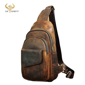 Image 1 - Горячая Распродажа, мужская кожаная повседневная модная нагрудная сумка на ремне Crazy Horse, 8 дюймов, дизайнерская сумка на одно плечо, сумка через плечо для мужчин 8013 d