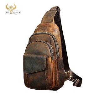 "Image 1 - Heißer Verkauf Männer Crazy Horse Leder Casual Mode Brust Sling Tasche 8 ""Tablet Design Schulter Tasche Kreuz körper tasche Männlichen 8013 d"