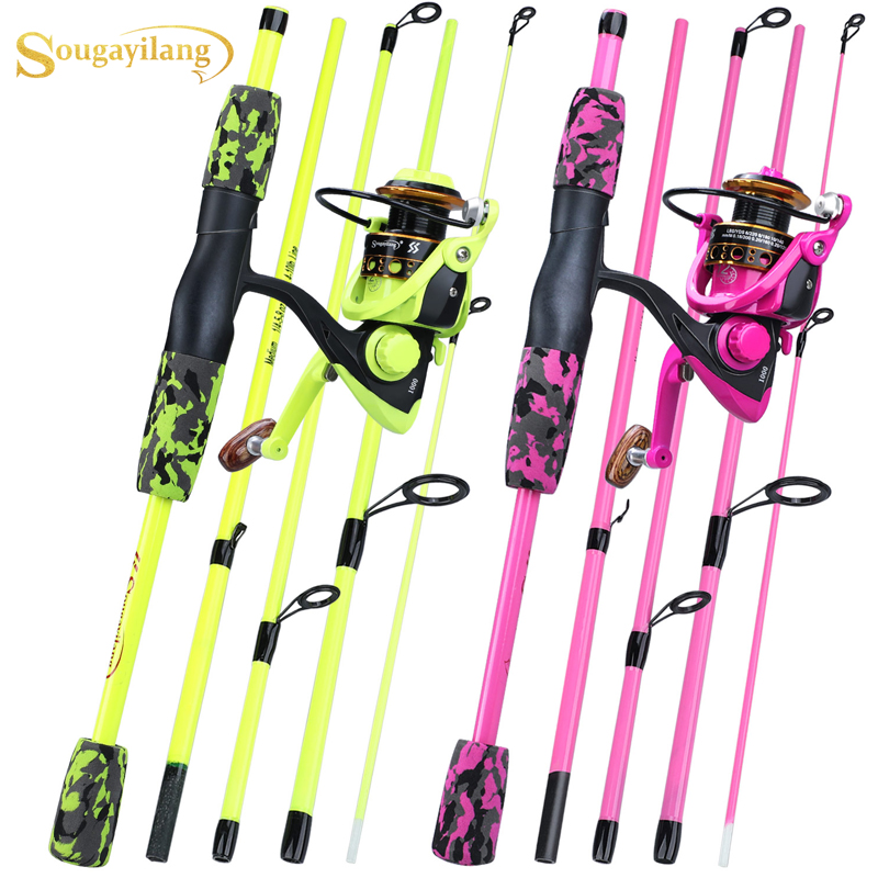 Sougayilang Portable 5 Section Red/yellow Fishing Rod Combo 170cm Fishing Rod And  1000 2000 3000 Spinning Reel Set