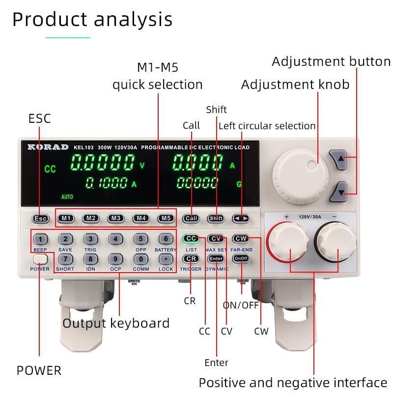 Testeur de capacité DC programmation électronique charge contrôle numérique 150W testeur de batterie électrique professionnel 120V 30A RS232 USB