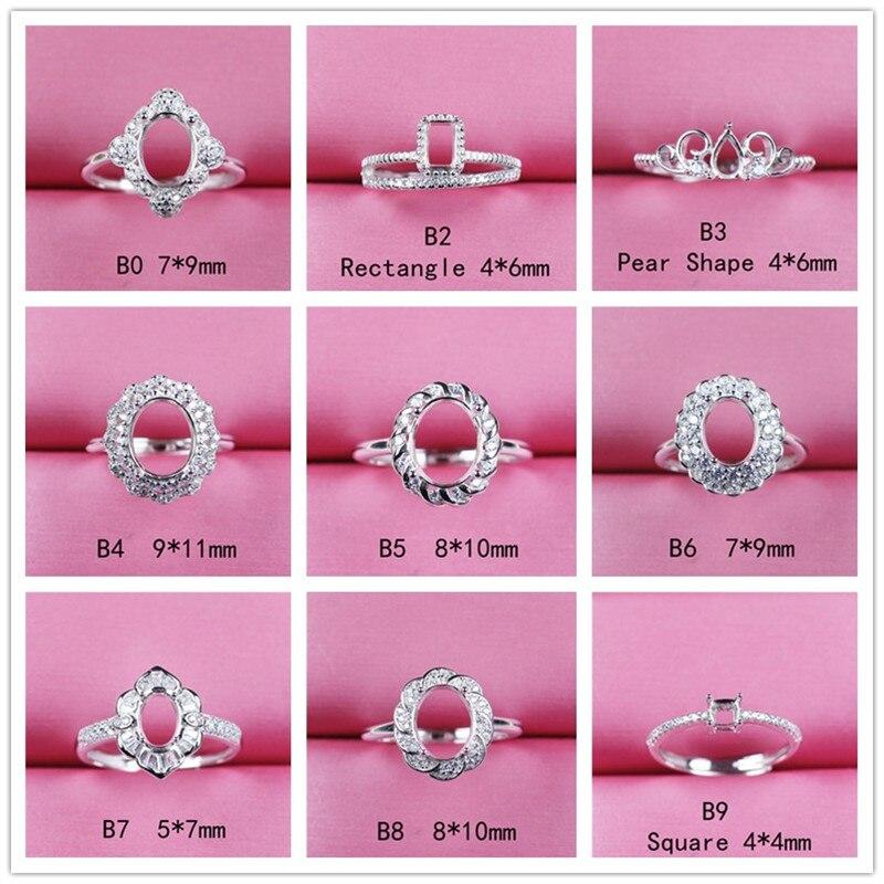 Fashion Jewelry Setting Adjustable Silver 925 Diy Gemstone Ring Base Fingdings Good Quality Precision Work B