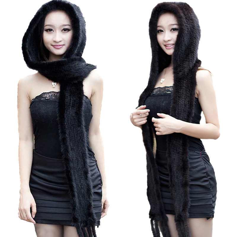 Women Real Mink Fur Hats Scarf One-Pieces Winter Warm Snow Cap Black Coffee