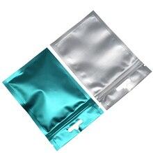 Multi-size Matte Clear/Blue Zip Lock Aluminum Foil Package Packing Bags Heat Sealing Plastic Food Storage Bag 100pcs/lot