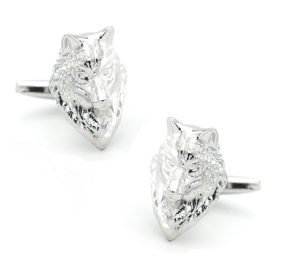Animal Design <font><b>Wolf</b></font> <font><b>Cufflinks</b></font> For Men Quality Copper Material Silver Color Cuff Links Wholesale&retail image