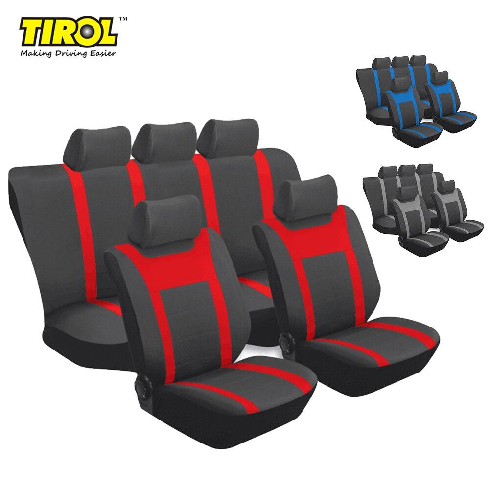TIROL universel complet housse de siège de voiture Set bleu gris rouge maille 9 pièces housse de siège accessoires de protection intérieur P3 livraison gratuite