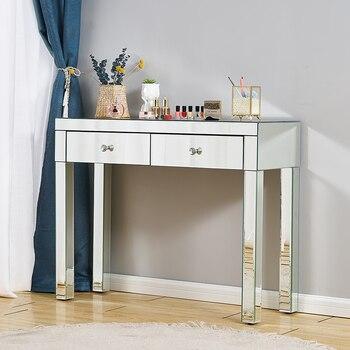 Presell minimalismo dormitorio mueble maquillaje embellecer tocador con espejo consola de esquina de la Mesa de tocador líneas escultura