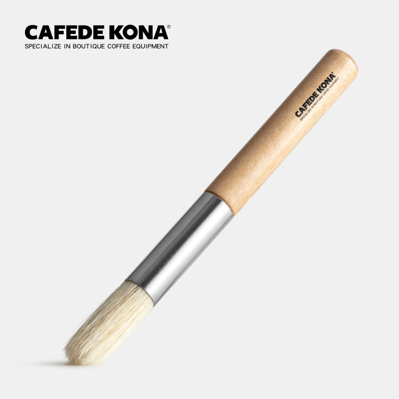 CAFEDE KONA Wooden Handle Cleaning Brush Grinder Cleaning Brush Cafe Bar Household Coffee Brush