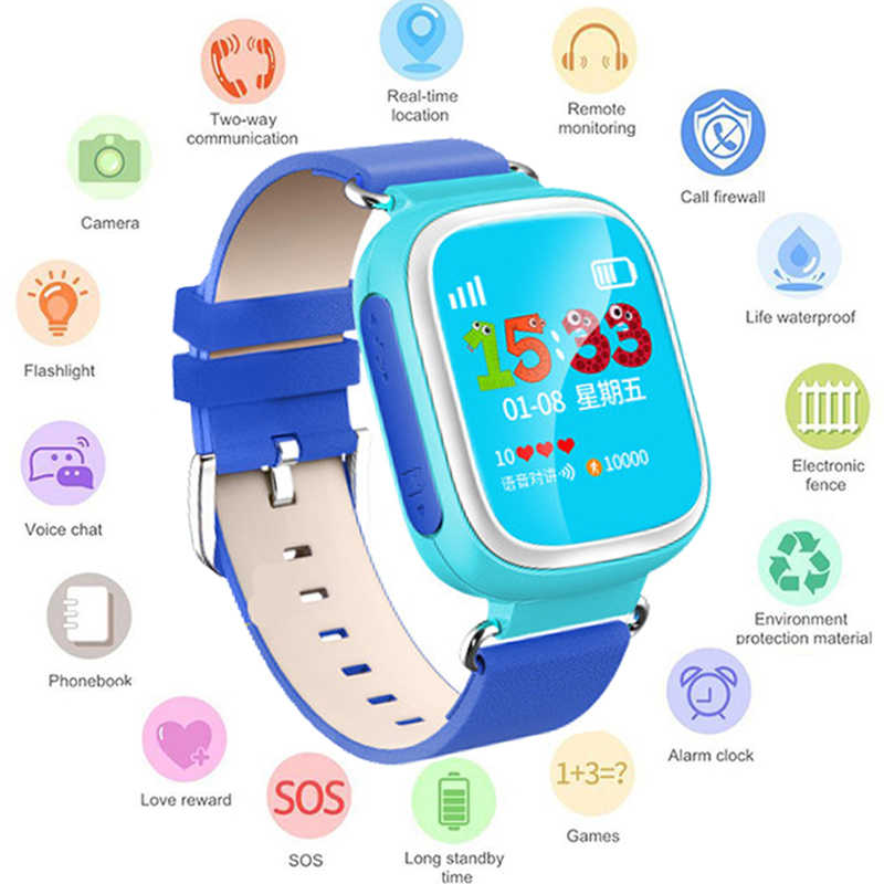 GEJIAN Smart Watch For kids Children Gps Phone Fiashlight Kids 1.22 Inch Color Touch Screen Wifi SOS Kids Watch PK Q50 Q80 Q60