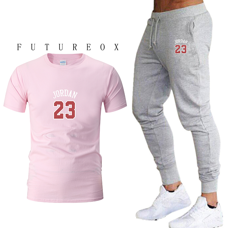 New Hot 2019 Fashion Cotton Short-sleeved Printed Sports Suit Short-sleeved + Trousers 2 Sets Fitness Running Mountaineering Sho