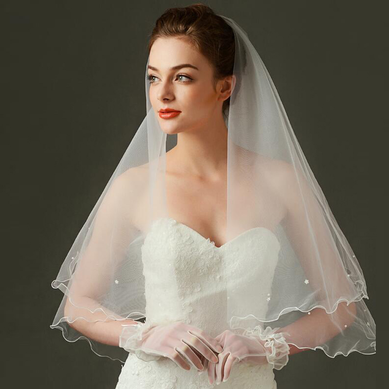 2020 Hot Sale Best Match White Bridal Wedding Veils Tulle Pencil Edge 1.2m Pearls Bride Veils One Tier Wedding Accessory