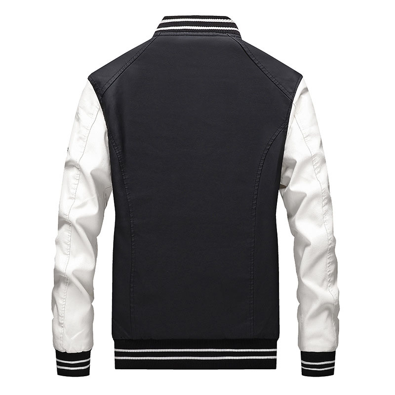 Fashion Men Pu Leather Jackets Block Color Faux Leather Badge Jackets Coats For Male Stand Collar (1)