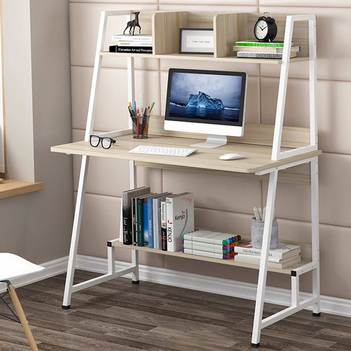 Computer Desk Home Office PC Laptop Table With 4 Shelves Kid Student Study Shelf