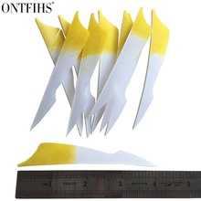 ONTFIHS 50pcs 4inch Gradient Yellow Sting Archery Fletches Natural Turkey Feather Fletching Feathers RW