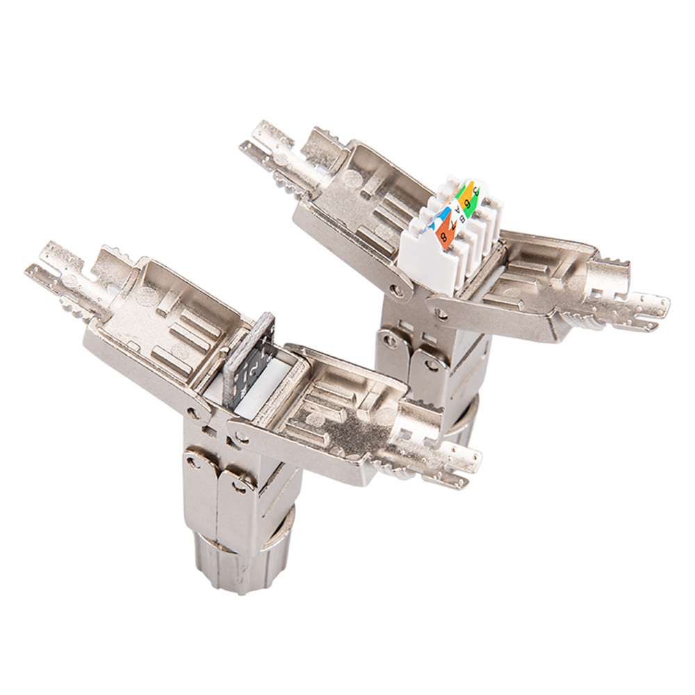 RJ45 Networking Connector Cat6A Cat7 RJ45 Network Full Shielding Tool-free Connection Module Plugs RJ45 Coupler Lan Adapter image