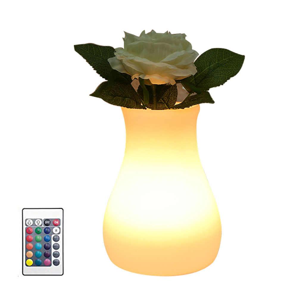 USB перезаряжаемая ваза ночник в форме 3 режима гостиничная светодиодная беспроводная меняющая цвет Настольная лампа с дистанционным управлением прикроватная лампа