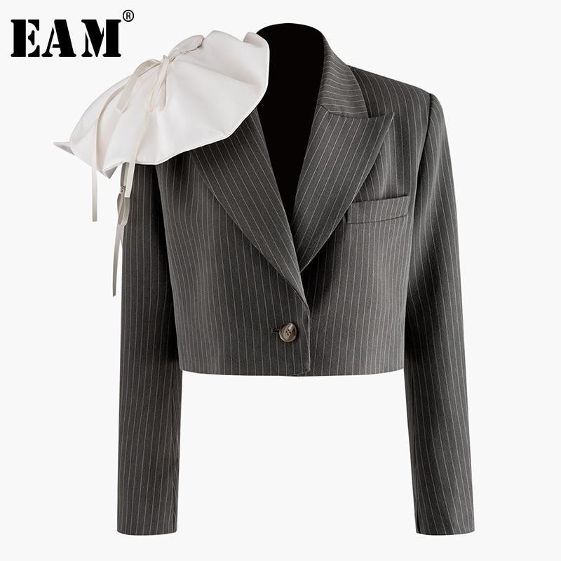 [EAM]  Women Three-dimensional Striped Short Blazer New Lapel Long Sleeve Loose Fit  Jacket Fashion Spring Autumn 2020 1N906