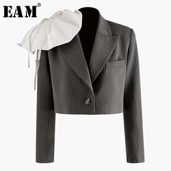 [EAM]  Women Three-dimensional Striped Short Blazer New Lapel Long Sleeve Loose Fit  Jacket Fashion Spring Autumn 2020 1N906