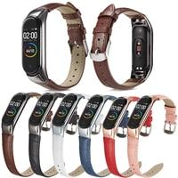 Fascia di cuoio Per Xiaomi Mi Banda 3 4 Inseguitore di Fitness In Pelle Colorata Mi band 4 3 Caso di Modo del Nero Della Cinghia braccialetti braccialetto