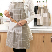 Cotton linen lattice cleaning aprons Adjustable oil-proof waterproof pocket kitchen pinafore sleeveless neckline tying bib